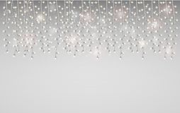 Christmas frame with a glowing garland. Bright stars and lamps f stock photo