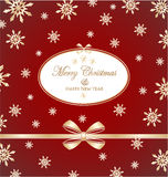 Christmas frame with gold bow and with snowflakes Royalty Free Stock Image