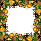 Christmas frame with gold decorations. Vector illustration. Royalty Free Stock Image