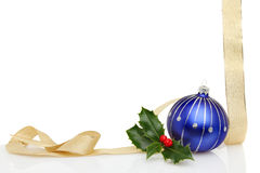 Christmas frame gold ribbon blue bauble Royalty Free Stock Photography