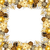 Christmas frame with gold and silver balls. Vector illustration. Vector Christmas frame with gold and silver balls, cones and poinsettia flowers vector illustration