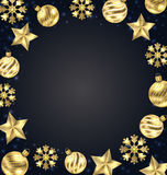 Christmas Frame of Golden Balls, Stars, Snowflakes Royalty Free Stock Photography