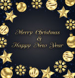 Christmas Frame of Golden Baubles, Greeting Banner Stock Images