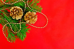 Christmas frame with golden cones Royalty Free Stock Photography