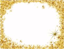 Christmas frame with golden stars Royalty Free Stock Image