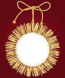 Christmas frame with golden tinsel Royalty Free Stock Photos