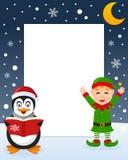 Christmas Frame - Green Elf & Penguin Stock Photo
