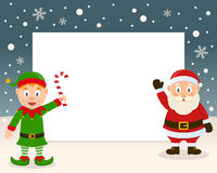 Christmas Frame - Green Elf & Santa Claus Royalty Free Stock Images