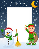 Christmas Frame - Green Elf & Snowman Stock Images