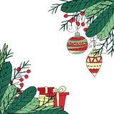 Christmas frame in hand drawn style. Fir branches, berries, present boxes and balls on a transparent background. vector illustration