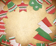 Christmas frame with handmade Christmas symbols. Christmas vinta Stock Images
