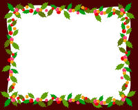 Christmas frame with holly Royalty Free Stock Photography
