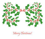 Christmas frame of holly berry Royalty Free Stock Photos