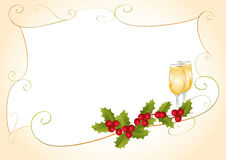 Christmas frame with holly and champagne Stock Images