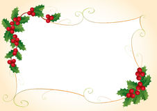 Christmas frame with holly Royalty Free Stock Photos
