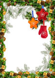 Christmas Frame With Holly Decoration for greeting card Stock Photos