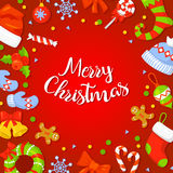 Christmas Frame With Holly Decoration. Royalty Free Stock Photos