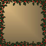Christmas Frame - Holly on Gold Stock Photography