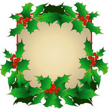 Christmas frame with holly sprigs. A traditional symbol of Christmas holly Royalty Free Stock Photos