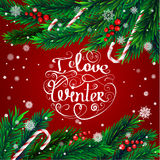 Christmas frame. I love winter. I love winter. Christmas frame. Christmas tree branches, candies and snowflakes on red background Stock Image