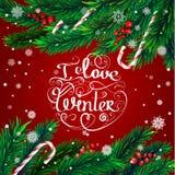 Christmas frame. I love winter Stock Image