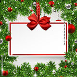 Christmas frame with invitation card. royalty free illustration