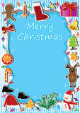 Christmas Frame Light Card_eps. Illustration of Christmas items frame around the colorful light with Merry Christmas words card. --- This .eps file info Version royalty free illustration