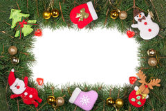 Christmas frame made of fir branches decorated with golden balls Snowman and Santa Claus isolated on white background Stock Photography