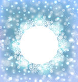 Christmas frame made in snowflakes on elegant glowing background Royalty Free Stock Photos