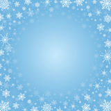 Christmas frame made of snowflakes. Vector light blue square background with frame of white elegant snowflakes for Christmas and New year, with place for text Stock Photos