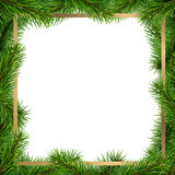 Christmas frame. Made from spruce tree branches royalty free illustration