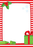 Christmas frame with marker and gift, A3 stripes Royalty Free Stock Photography