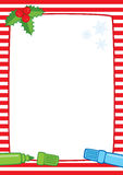 Christmas frame and markers A3 stripes. Vector Christmas illustration of a red and white striped frame with holly berries and two marker pens: light blue and Royalty Free Stock Photography