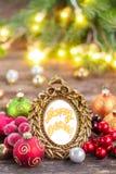 Christmas frame with merry christmas greetings Royalty Free Stock Photos