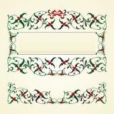Christmas frame with mistletoe. Vector set of Xmas decor elements Stock Photography