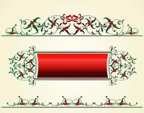 Christmas frame with mistletoe. Vector set of Xmas decor elements Stock Image