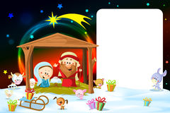 Christmas Frame - Nativity With Lights Stock Images