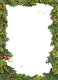 Christmas frame of natural thuja and jew twigs Royalty Free Stock Photography