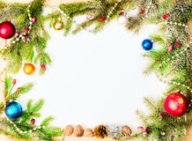 Christmas frame with. new year ornaments and decorations Royalty Free Stock Photography