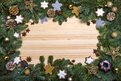 Christmas frame. New Year`s greetings. Christmas decorations stock images