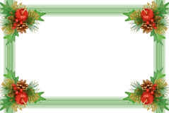 Christmas Frame - Ornament With Green Branch Royalty Free Stock Photo