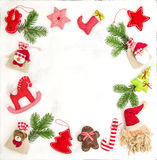 Christmas frame  ornaments decoration gift bags Royalty Free Stock Photo