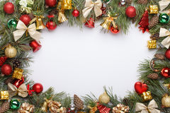Christmas frame. With Christmas ornaments and decorations Royalty Free Stock Photos