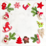 Christmas frame ornaments decorations gift bags Holidays backgro Stock Photo