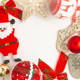 Christmas Frame with ornaments and decorations. On white background Stock Images