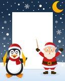 Christmas Frame - Penguin & Santa Claus Stock Photography