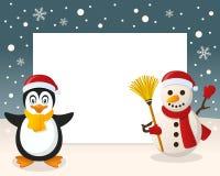 Christmas Frame - Penguin & Snowman Royalty Free Stock Photo