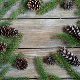 Christmas frame with pine branch and cones on wooden boards Stock Photography