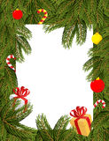 Christmas frame. Pine branches decorated with balloons and gifts Stock Photography