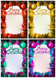 Christmas frame on pine branches. Greeting card for Christmas Royalty Free Stock Photos